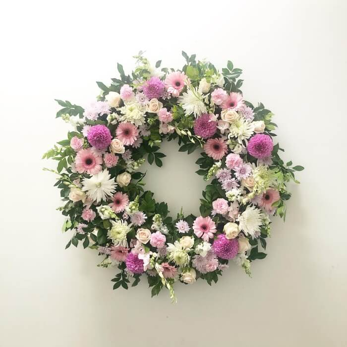 pink and white tribute wreath