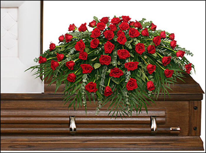 MAJESTIC RED CASKET SPRAY OF FUNERAL FLOWERS