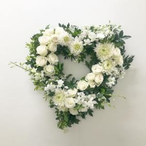 white floral heart